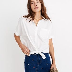 Madewell Short-Sleeve Tie-Front Shirt Small